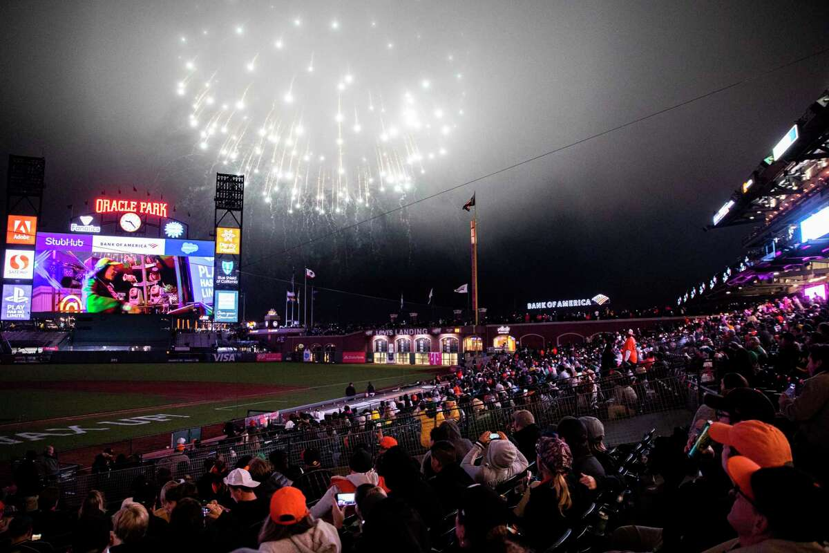 Fireworks at Oracle Park after the MLB game between the San Francisco Giants and Oakland Athletics, Friday, June 25, 2021, in San Francisco, Calif. It's the first game at the park without a capacity limit since the start of the coronavirus pandemic limited or banned spectators at sports venues. The Giants won 2-0.