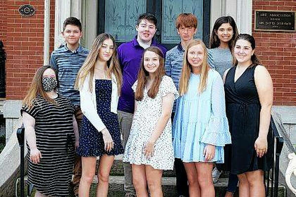 """The Art Association of Jacksonville's 64th annual Beaux Arts Ball will feature 13 eighth-graders serving as junior attendants. They include Ellanore Marjorie Veith (front row, from left), Lauren Grace Rouland, Elsa Marie Cole, Allison Ann """"Alli"""" Kafer, Claire Ilene McGuire, Cody Symons (back row, from left), Alex Michael McGuire, Robert Hayden Hicks and Ella Marie Rajaguru. Not pictured are Brock Robert Bordenkircher, Daniel Hallam, Marley Mae Van Aken and Isla Ann Willis."""