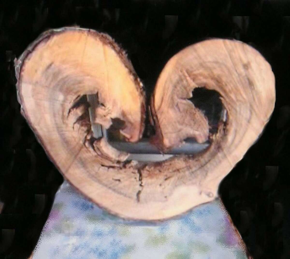A piece from a tree trunk cut up by Denise Geraldi of New Lebanon presents an intriguing design.