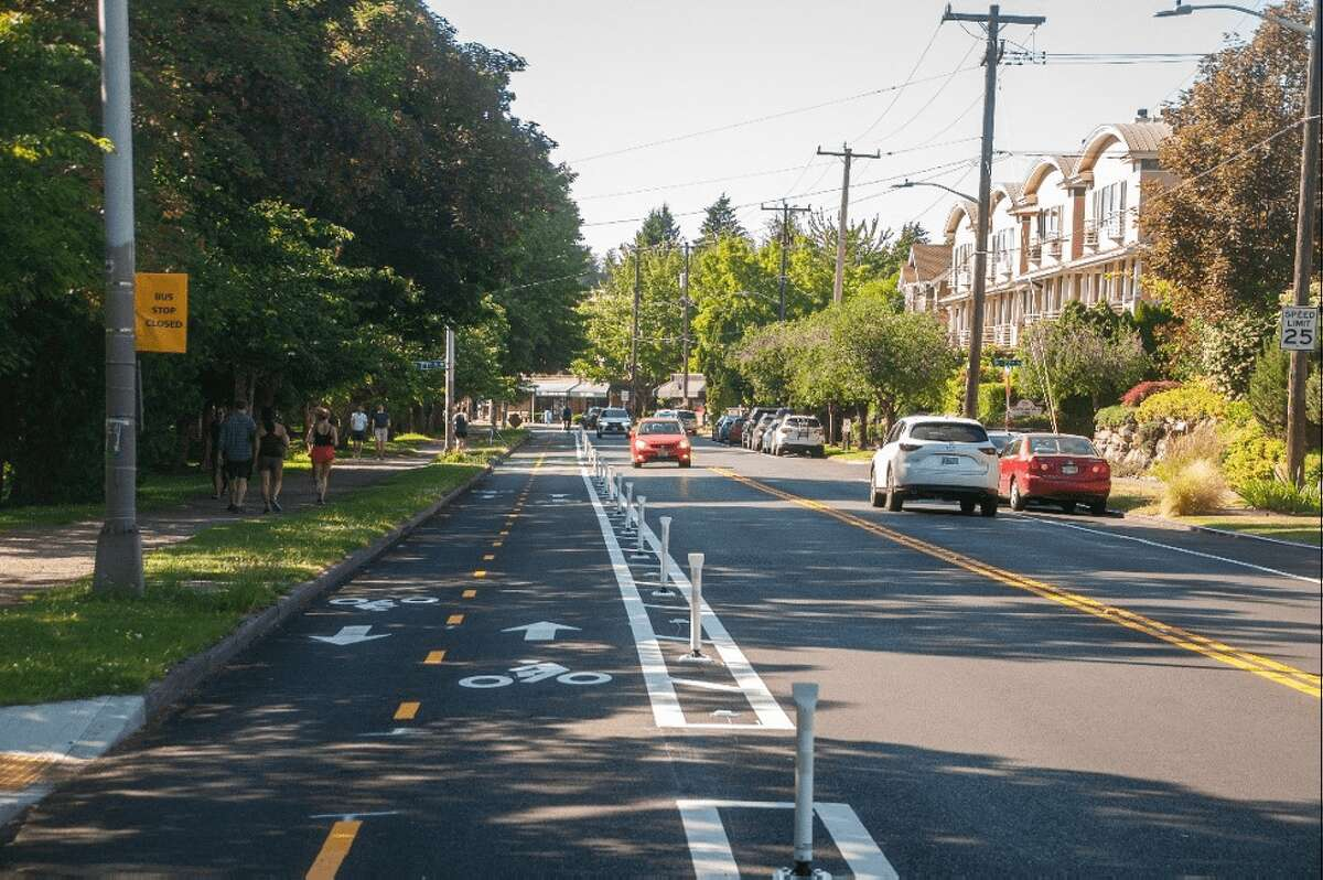 A two-way bike lane was constructed around the Green Lake Loop.