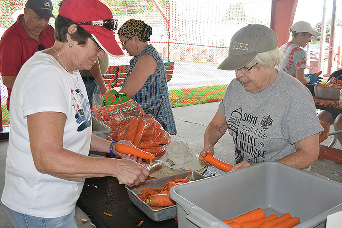 Burgoo is a mainstay at the Franklin Fourth of July Celebration, and it takes a team of volunteers to prepare the vegetables that will go into the stew.