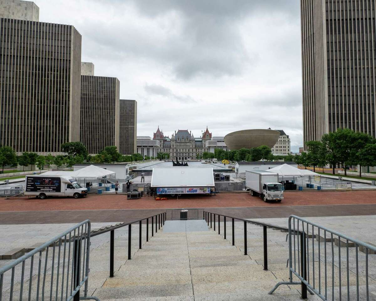 The stage is being set up on Saturday, July, 3, 2021, ahead of the Fourth of July celebration at the Empire State Plaza. (Jim Franco/Special to the Times Union)