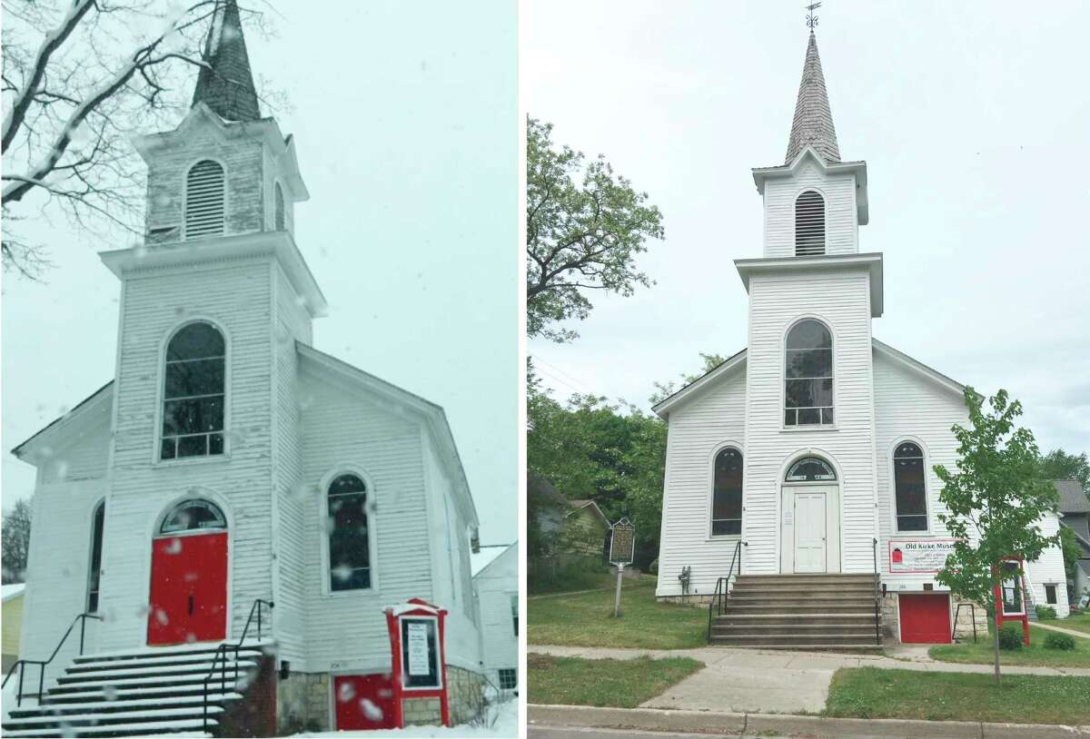 As volunteers continue to rehabilitate the Old Kirke Museum-- pictured at left in 2017 and at right in 2021-- the annual speaker series continues for the fourth summer with this week's speakerDr. Matt Sanderson. (Courtesy photo)