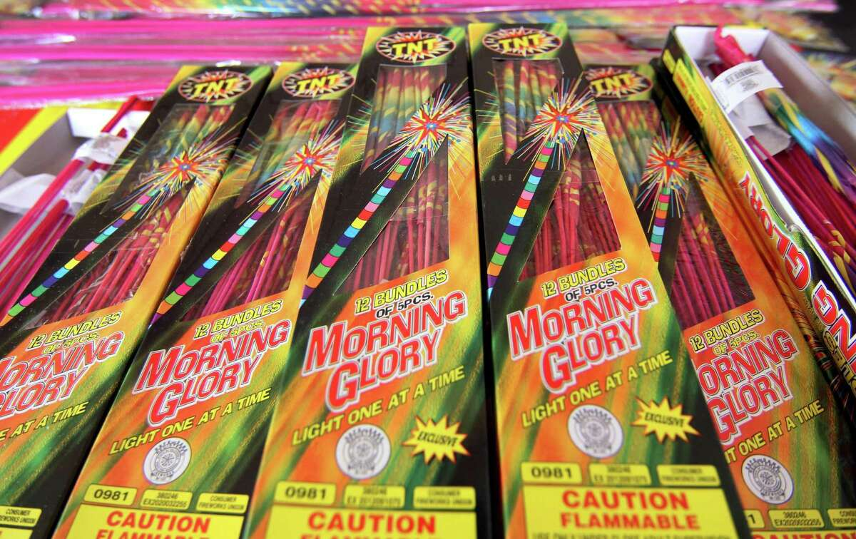 Fireworks for sale at a TNT Fireworks tent setup at 1060 Long Ridge Road in Stamford, Conn., on Friday July 2, 2021.
