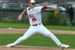 Greenwich's Miles Langhorne pitches against Trumbull in May.