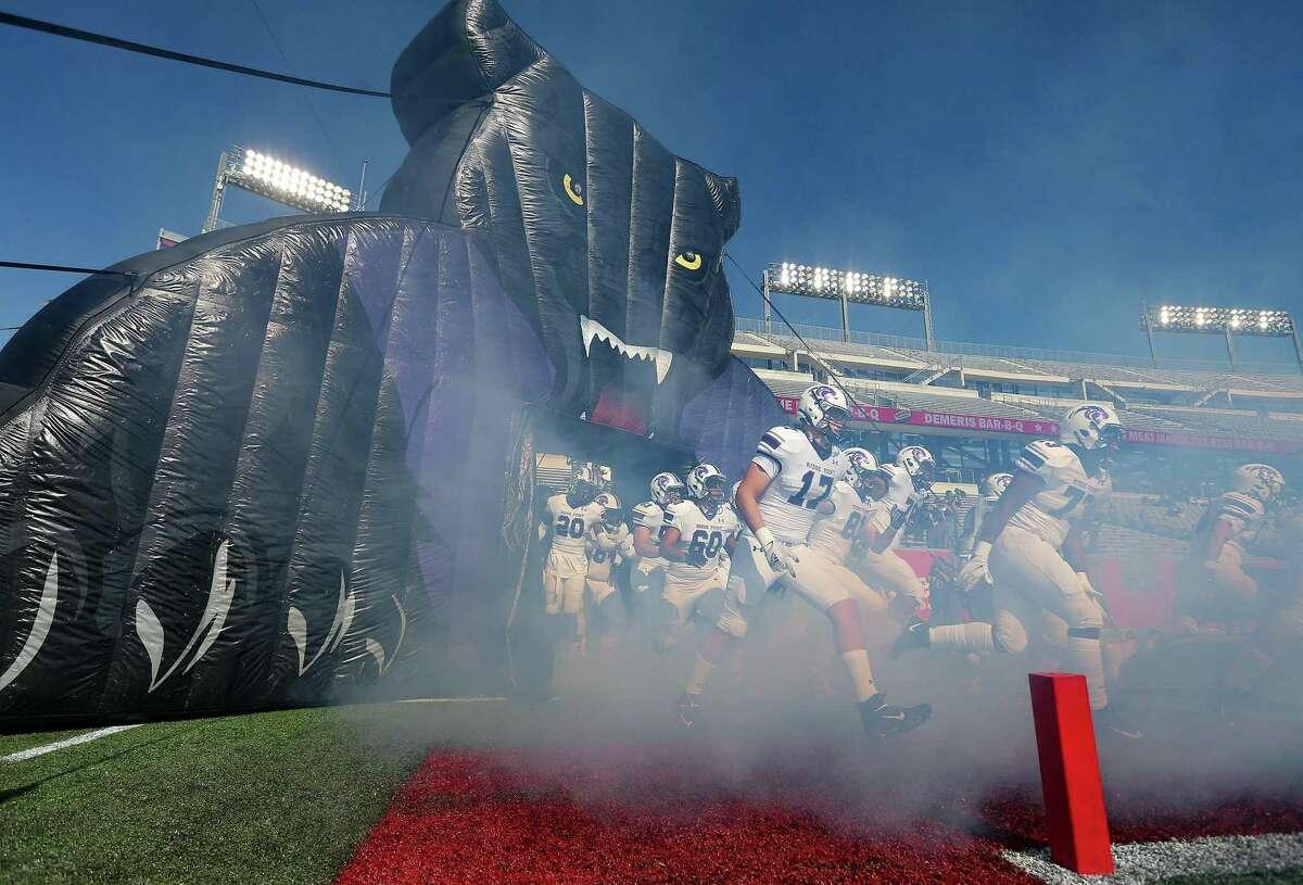 Fort Bend Ridge Point varsity football team takes to the field to take on Humble Atascocita at TDECU Stadium in Houston on Saturday, Dec. 26, 2020.
