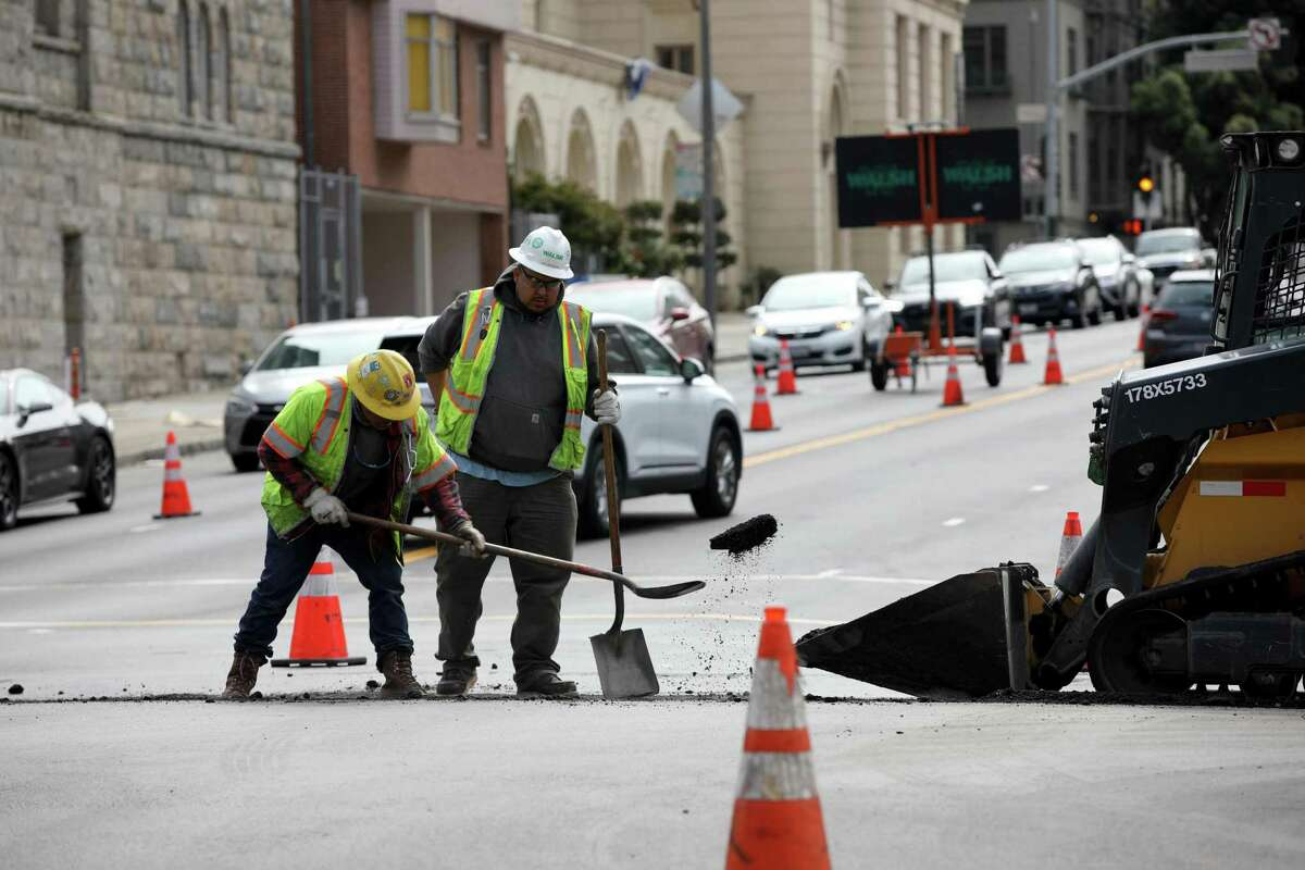Construction continues on Van Ness Avenue at Broadway.