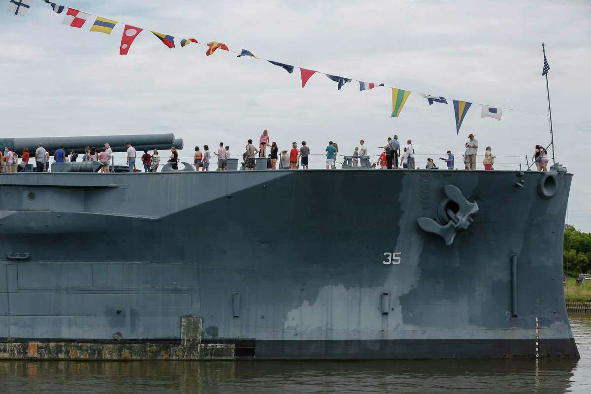 Long-lines of visitors wait to see different parts of the Battleship Texas Saturday, July 3, 2021, in La Porte.