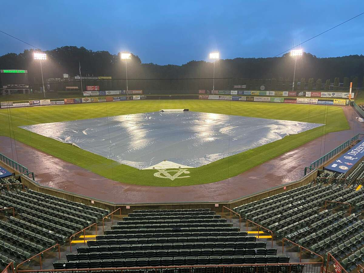 The ValleyCats were suspended by rain with a 2-0 lead in the second inning against Equipe Quebec on Saturday, July 3, 2021, a game that will be resumed at 3:30 on Sunday. (Mark Singelais)