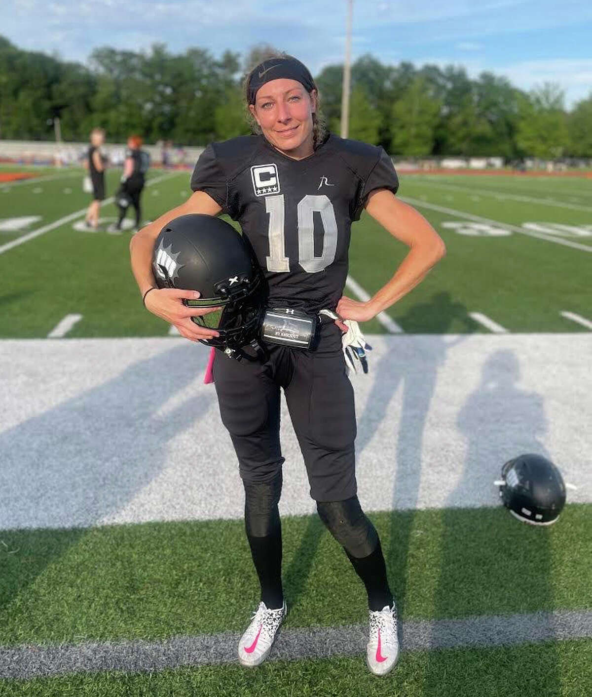 All-American Alaina Lange, a former College of Saint Rose soccer player, plays for the semi-pro women's tackle football team The New York Knockout, based in Schenectady County. (Provided)