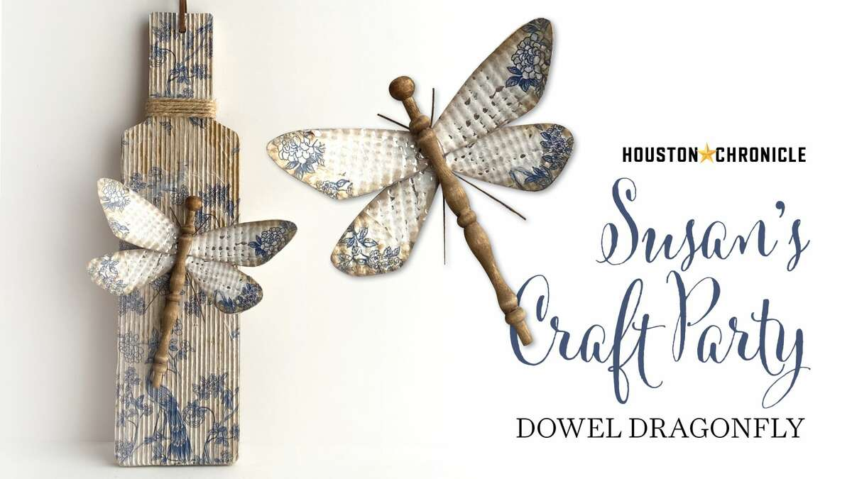 DOWEL DRAGONFLY Join Houston Chronicle design director Susan Barber to learn how to make a dragonfly using a dowel and a cookie sheet. She also shows us a cool way to decoupage on corrugated paper.