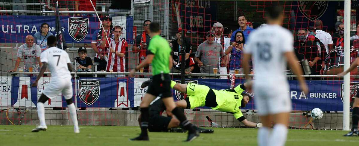SAFC goalie Matthew Cardone can't stop the only goal by Austin Bold's Ates Diouf (7) in first half at Toyota Field on Saturday, July 3, 2021.