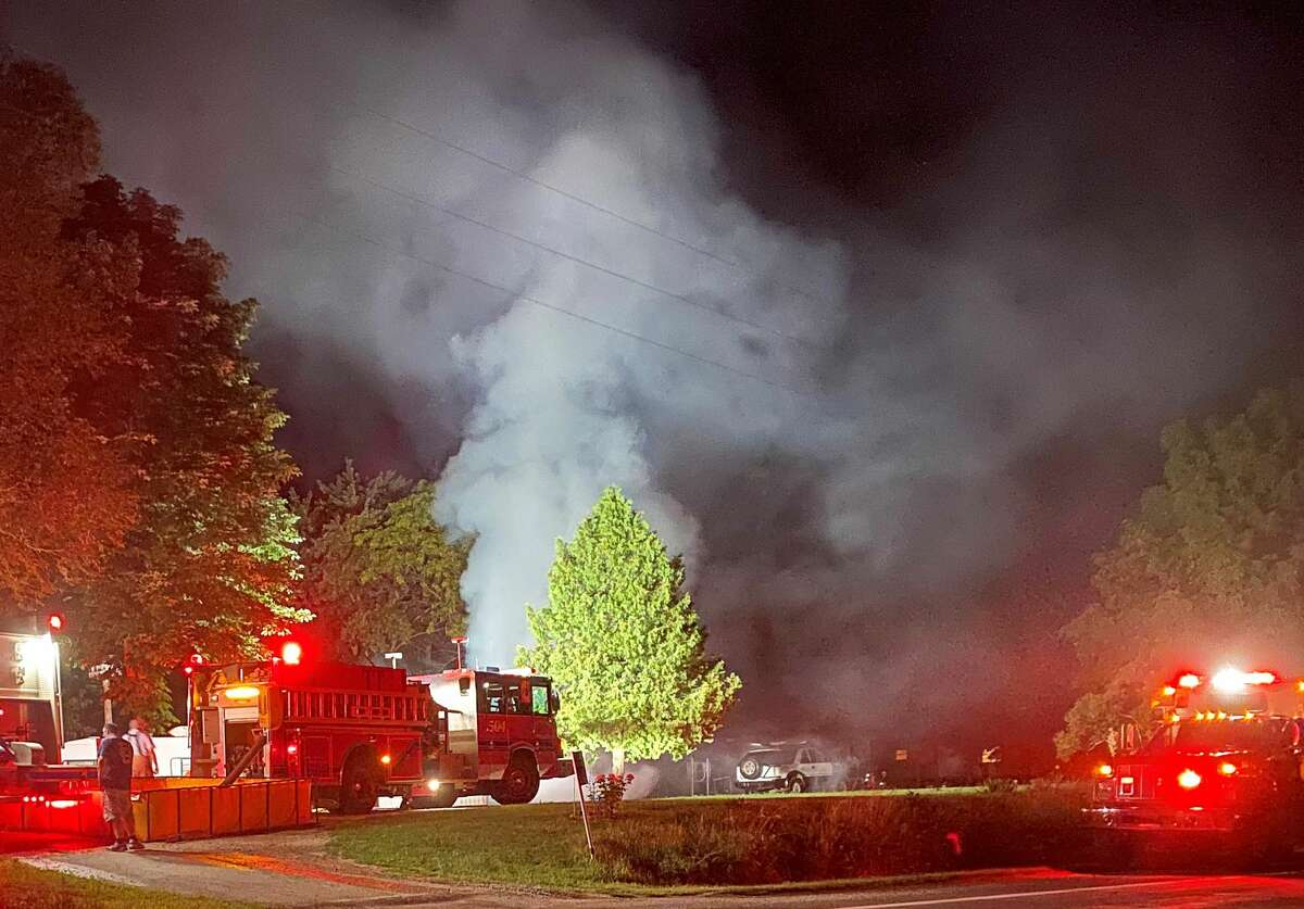 Huron County firefighters were called to the scene of a fully involved structure fire southwest of Bad Axe just after midnight Sunday morning.