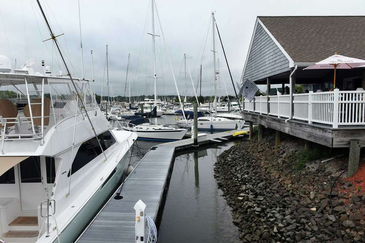 The Bacari Social Waterfront Bar & Restaurant in Westbrook overlooks a marina.