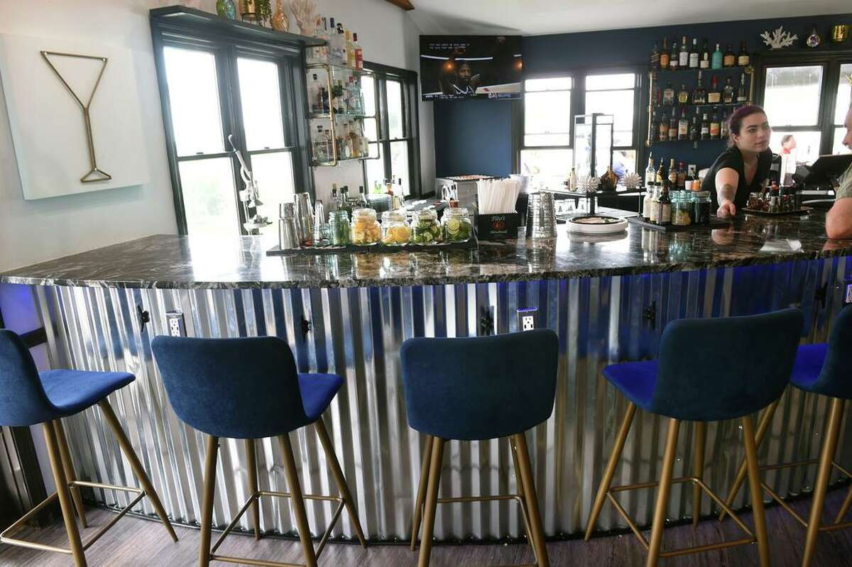 The bar area at Bacari Social Waterfront Bar & Restaurant in Westbrook
