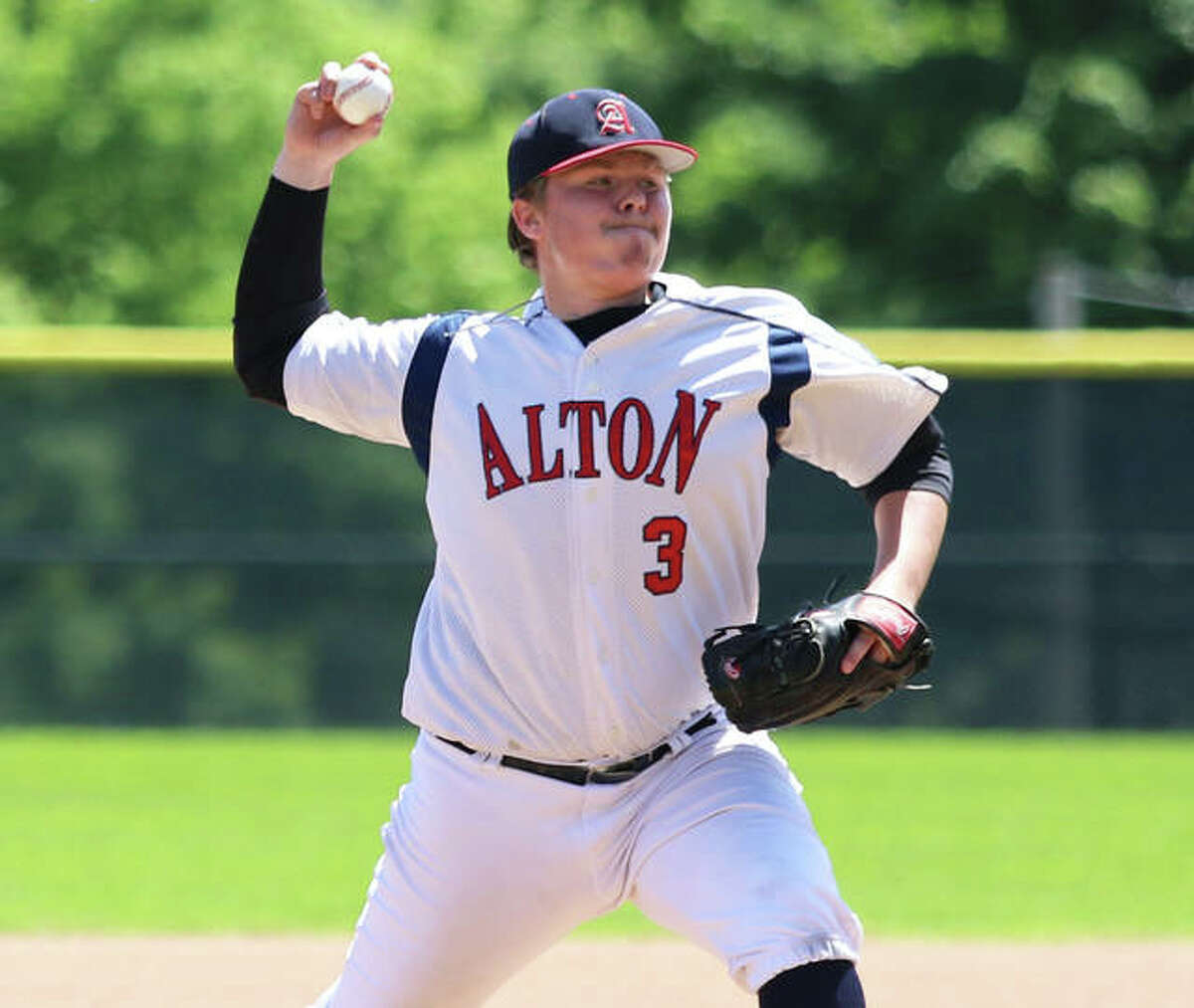One year after making this pitch for Alton Legion in 2020, Adam Stilts was pitching for the Alton River Dragons in a Prospect League game on Saturday night in Alton and threw five innings for the win in a 20-1 victory over the Cape Catfish at Hopkins Field.
