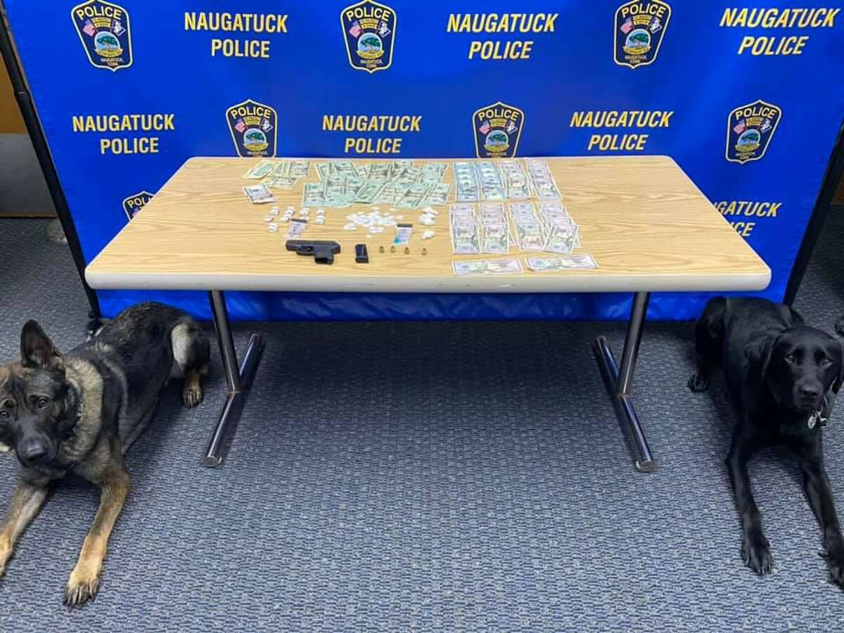 Naugatuck K9 officers find 39 baggies of crack cocaine and 80 bags of heroin. Officers also found over $3,500, well as a .380 semi-automatic pistol.