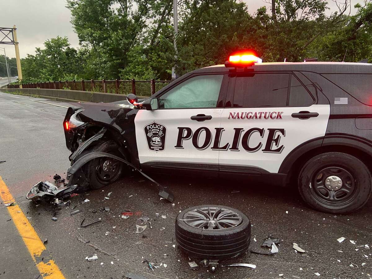 Fleeing suspects struck a police officer's patrol vehicle on Route 8. The suspects were driving wrong way on Route 8.