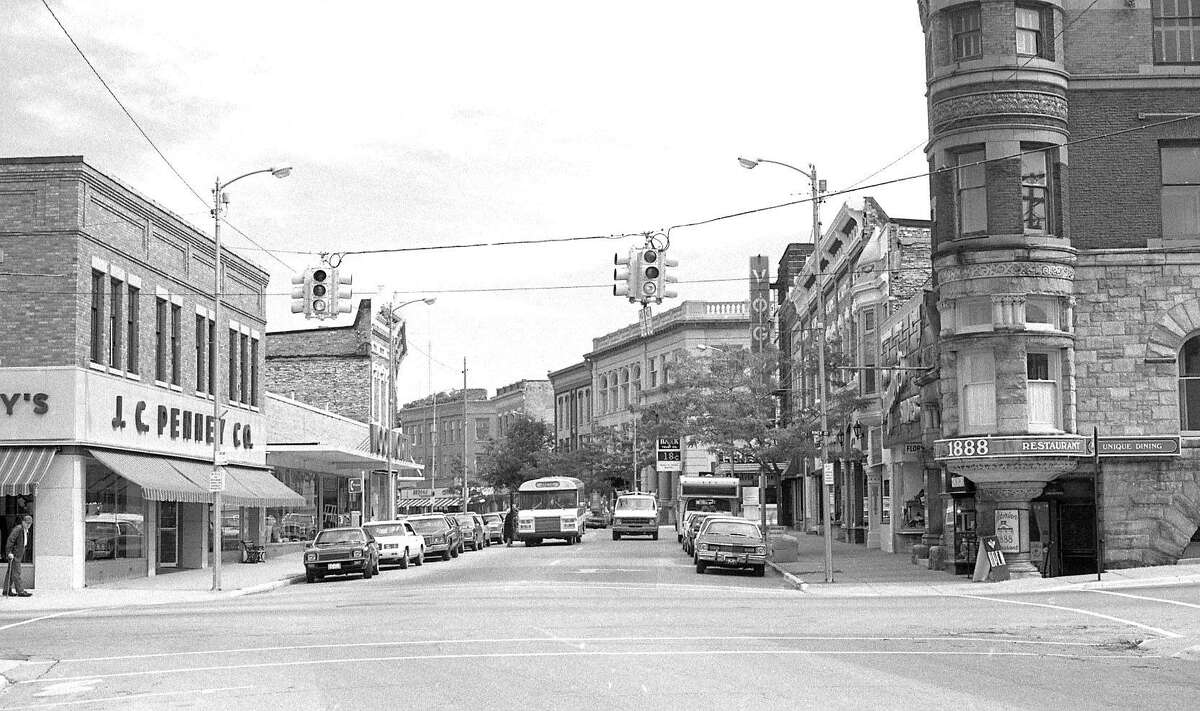 This photo shows a view of River Street looking east at the intersection of Maple Street in late September 1984.