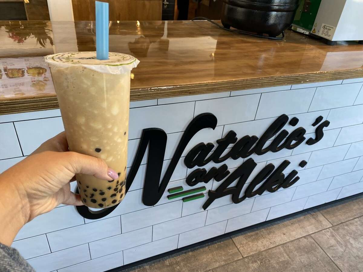 Coconut smoothie with Vietnamese coffee and boba.