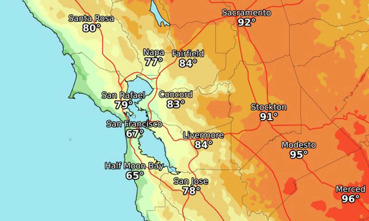High temperatures expected in the Bay Area on July 4, 2021.