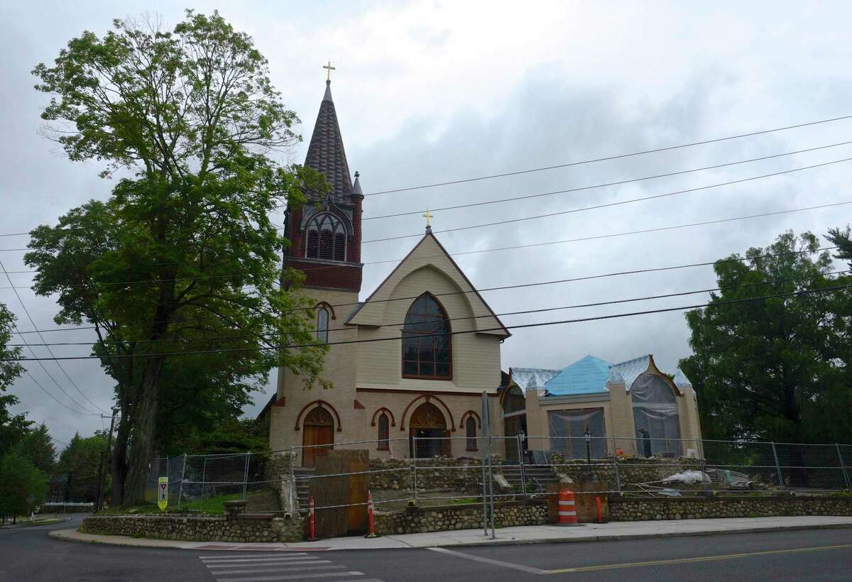 St. Mary Parish is celebrating the 125th anniversary of the laying of the church building's cornerstone. The parish is planning a variety of special events in the coming year and is approaching the re-opening of the building after months of renovation. Friday, July 2, 2021, in Ridgefield, Conn.