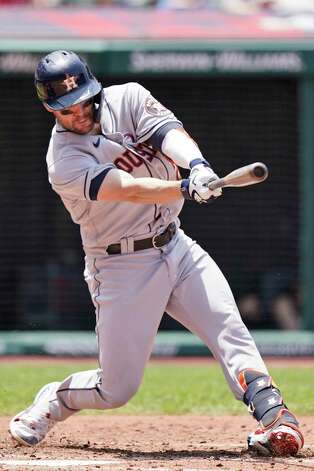Houston Astros' Chas McCormick hits an RBI-single in the fourth inning of a baseball game against the Cleveland Indians, Sunday, July 4, 2021, in Cleveland. (AP Photo/Tony Dejak) Photo: Tony Dejak, Associated Press / Copyright 2021 The Associated Press. All rights reserved.