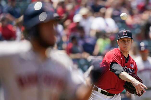 Cleveland Indians relief pitcher Phil Maton throws out Houston Astros' Abraham Toro at first base in the sixth inning of a baseball game, Sunday, July 4, 2021, in Cleveland. (AP Photo/Tony Dejak) Photo: Tony Dejak, Associated Press / Copyright 2021 The Associated Press. All rights reserved.
