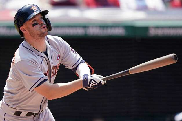 Houston Astros' Chas McCormick watches his two run home run in the sixth inning of a baseball game against the Cleveland Indians, Sunday, July 4, 2021, in Cleveland. (AP Photo/Tony Dejak) Photo: Tony Dejak, Associated Press / Copyright 2021 The Associated Press. All rights reserved.