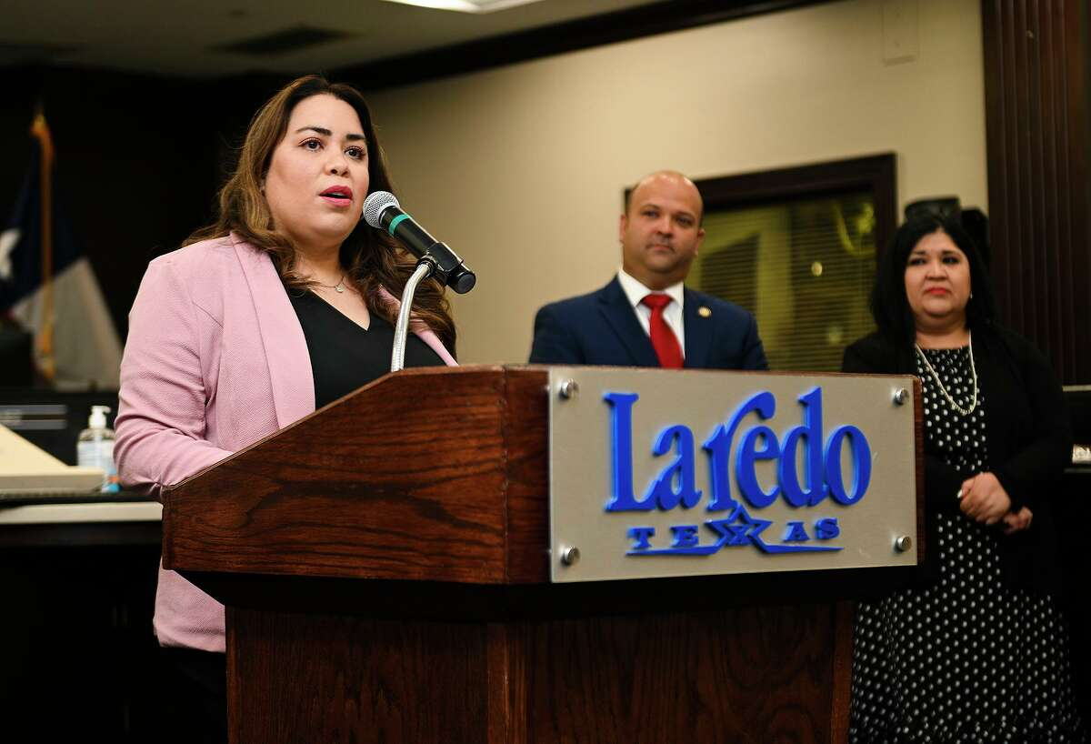 City of Laredo Human Resources Director Melinda Bermudez encourages Laredoans to apply for available jobs with the City of Laredo in a Friday, July 2, 2021 press conference at the City Hall Council Chambers as the city announces a job fair to be held at Sames Auto Arena on Wednesday, July 14, 2021.