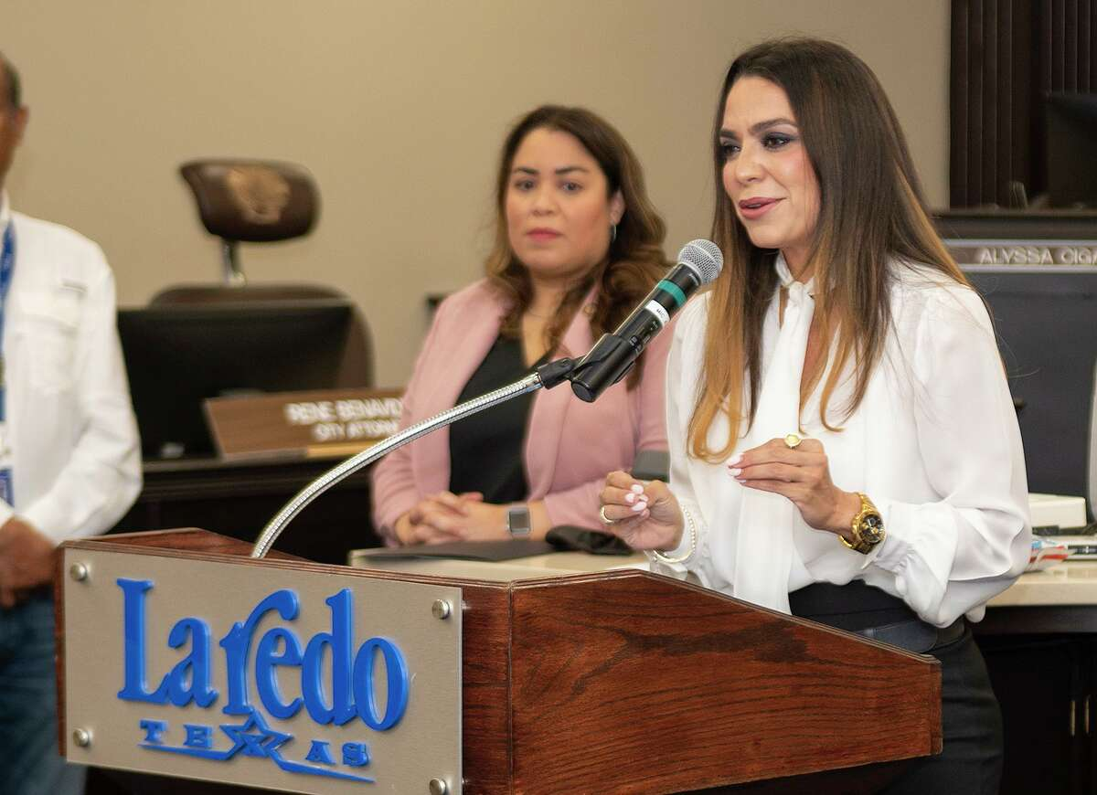 City of Laredo Human Resources Director Melinda Bermudez stands by as Employee Health Manager Zaida Gonzalez encourages Laredoans to apply for available jobs with the City of Laredo, Friday, July 2, 2021, at the City Hall Council Chambers as the city announces a job fair to be held at the Sames Auto Arena on Wednesday July 14, 2021.