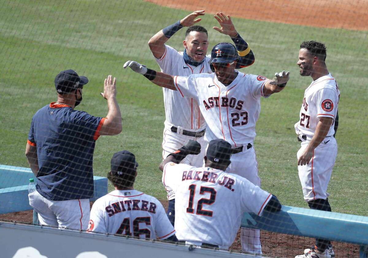The Astros' Carlos Correa, Michael Brantley, Jose Altuve and Ryan Pressly were selected as reserves for the AL All-Star team.