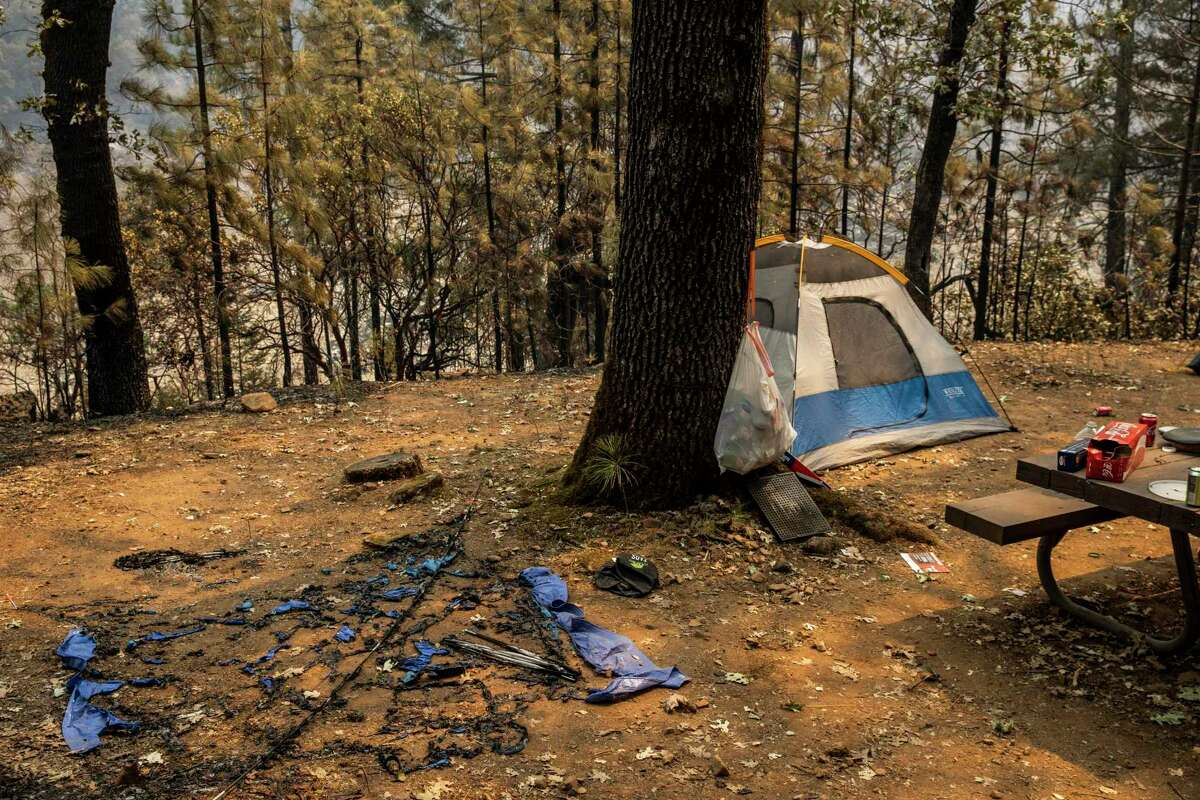 An abandoned camp site at the Gregory Creek campground during the Salt Fire in Lakehead (Shasta County).