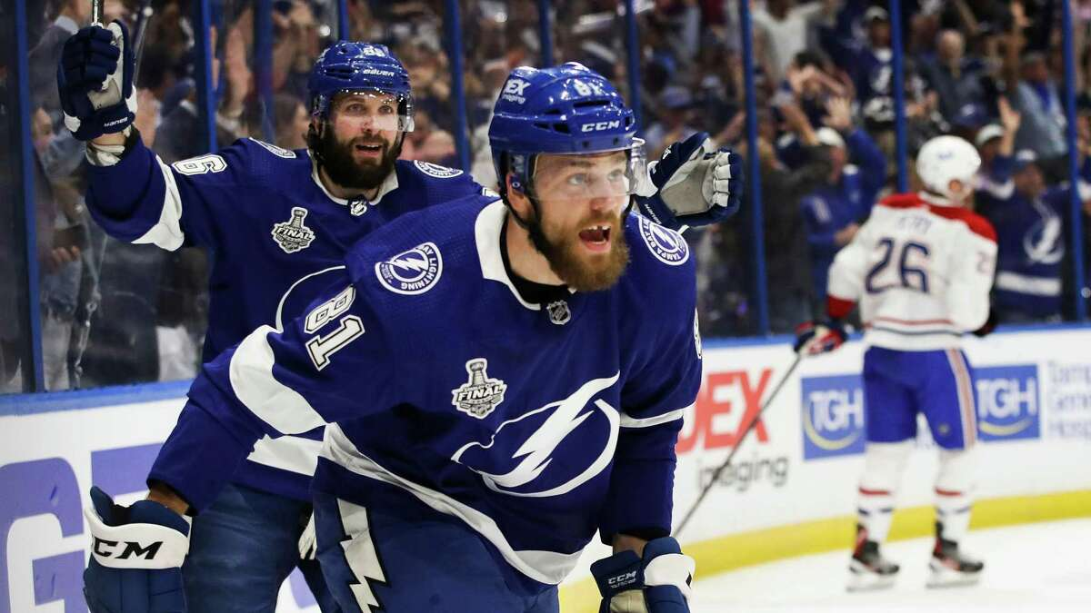 Erik Cernak and his Tampa Bay Lightning teammates can wrap up a Stanley Cup title when they face the Montreal Canadiens at 5 p.m. Monday. ( Channel: 1Channel: 3Channel: 8