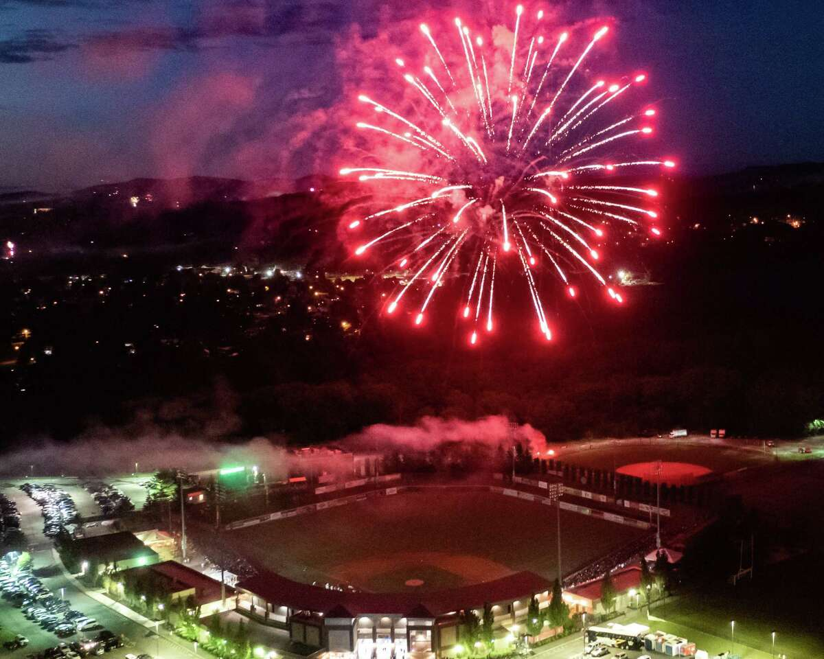 Fireworks at the Joseph L. Bruno Stadium on the Hudson Valley Community College in Troy, NY, on Sunday, July 4, 2021, after the Tri-City ValleyCats game against Equipe Quebec. (Jim Franco/Special to the Times Union)