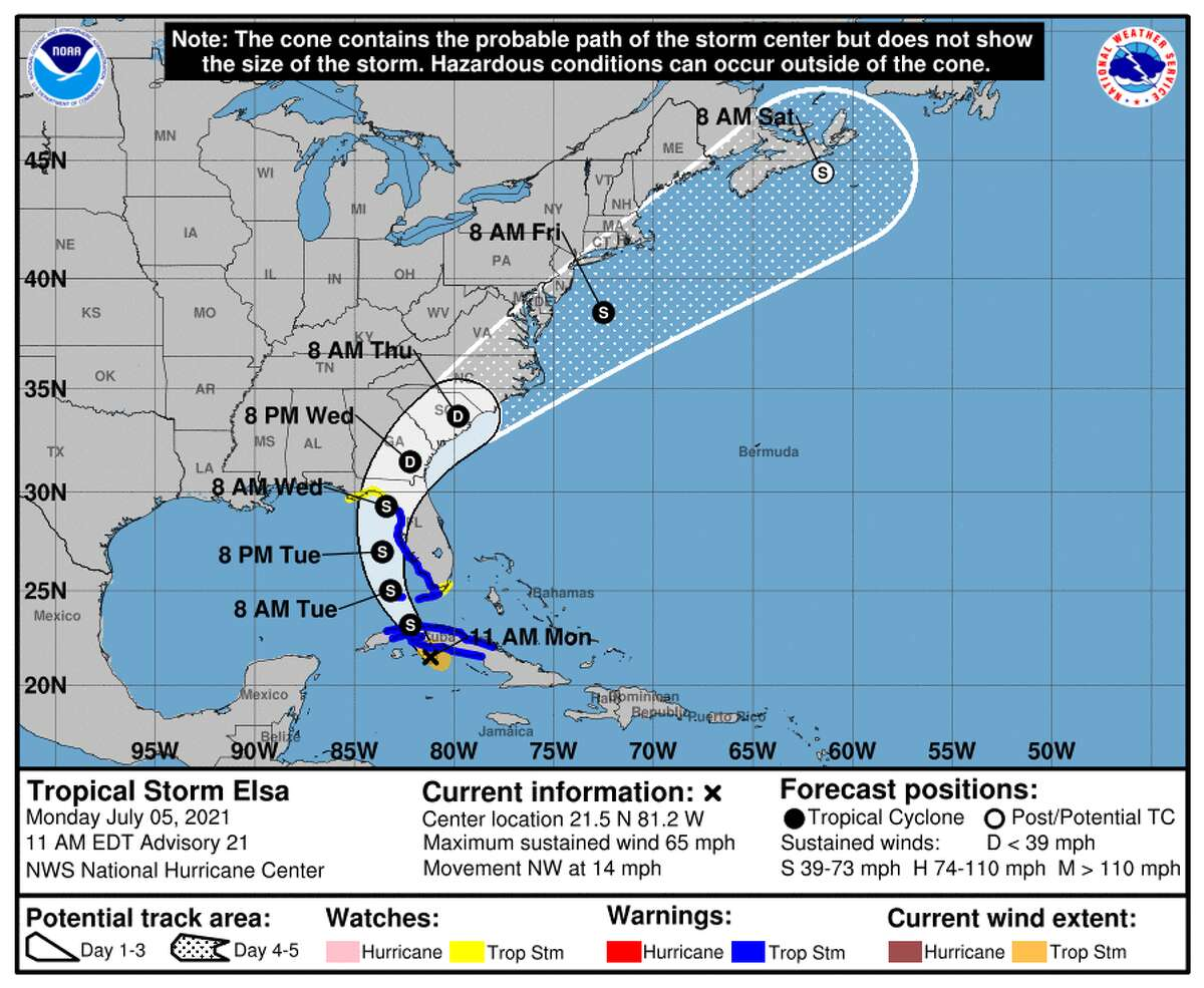 Coastal Watches/Warnings and Forecast Cone for Tropical Storm Elsa.