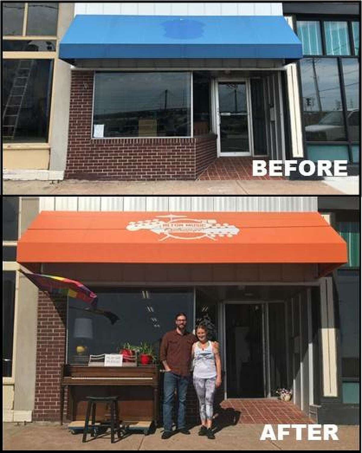 Before and after photos show how Alton Music Exchange used its Alton Main Street Façade Improvement Grant to update its storefront at 556 E. Broadway. Pictured outside the building are Jared and Jenny Unfried, owners of Alton Music Exchange. The application deadline is Aug. 27.
