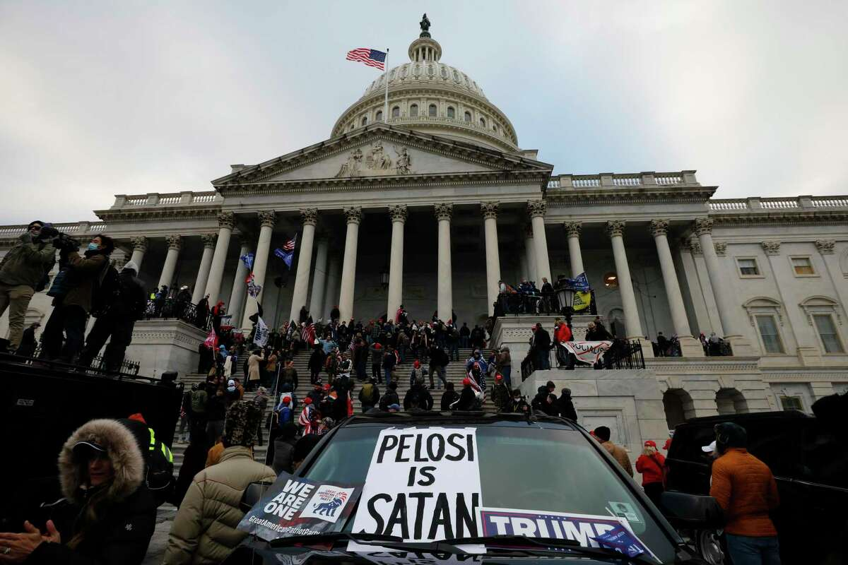 Supporters of President Donald Trump protest on the steps of the U.S. Capitol building on Capitol Hill in Washington, D.C., on Wednesday, Jan. 6, 2021. (Yuri Gripas/Abaca Press/TNS)