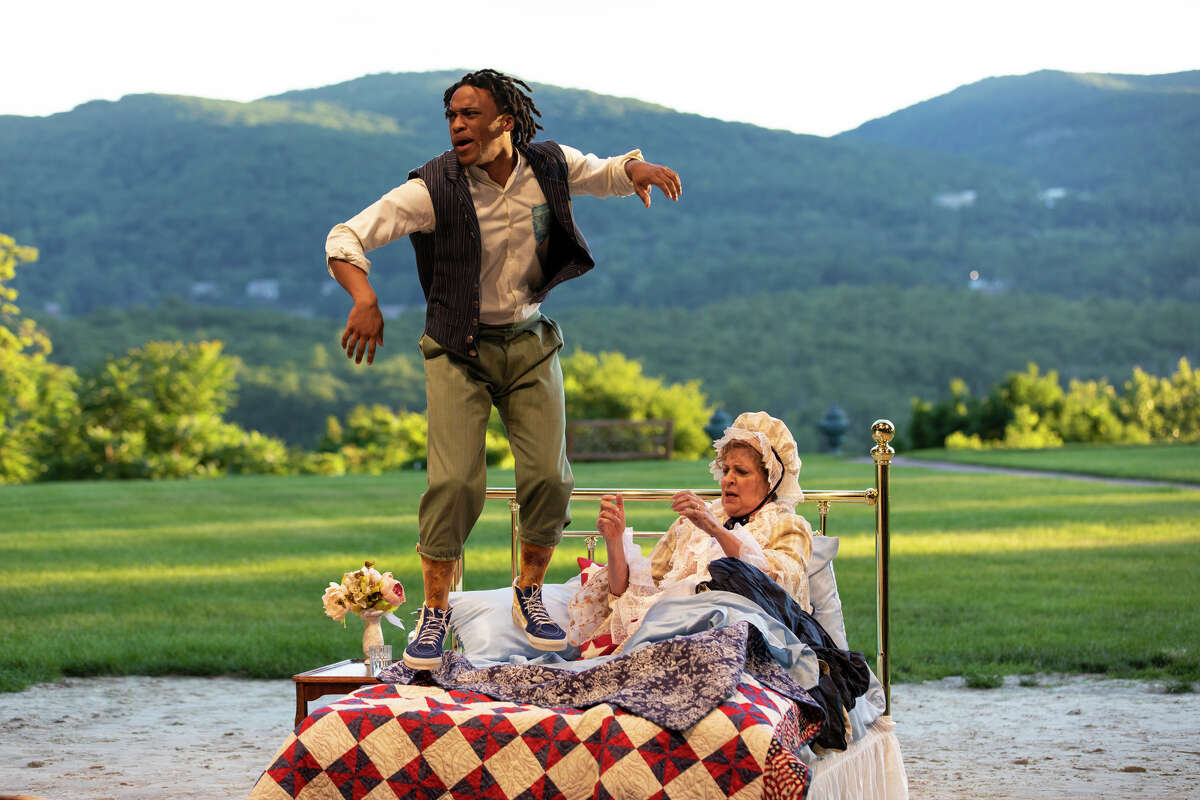 """Tyler Fauntleroy and Nance Williamson in """"The Most Spectacularly Lamentable Trial of Miz Martha Washington,"""" by James Ijames. The play, which runs through July, opened the 34th season of the Hudson Valley Shakespeare Festival, its last one at Boscobel House and Gardens before it moves to a new home in Philipstown next year."""