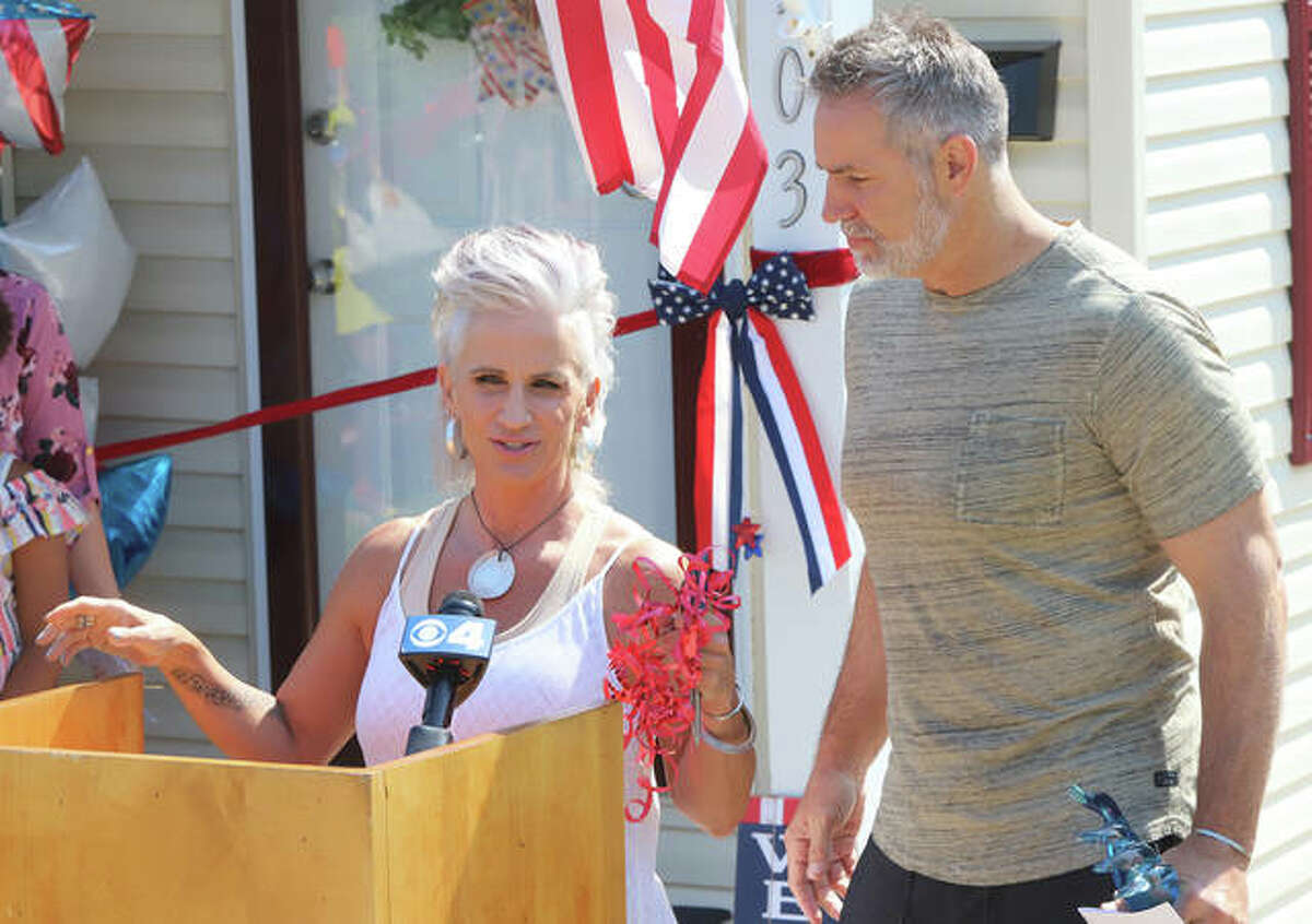 Brenda and Kurt Warner talked about their biographical film scheduled for release in December. The Warners were in Alton Friday to help present a fully furnished Habitat for Home to a single mom and her two kids.