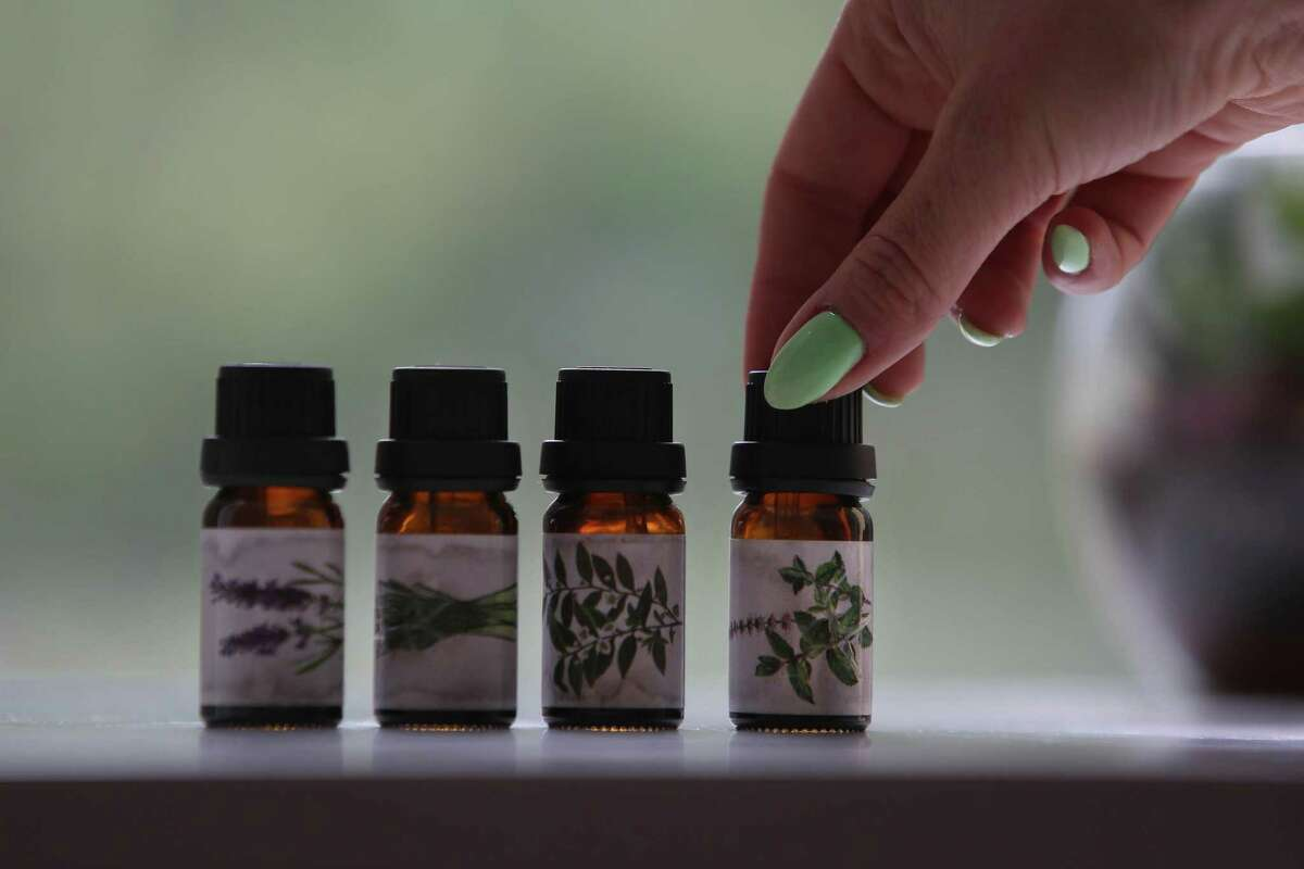 Cat Berner of San Francisco, who lost her sense of smell when she got COVID-19 in October, uses essential oils for scent training.