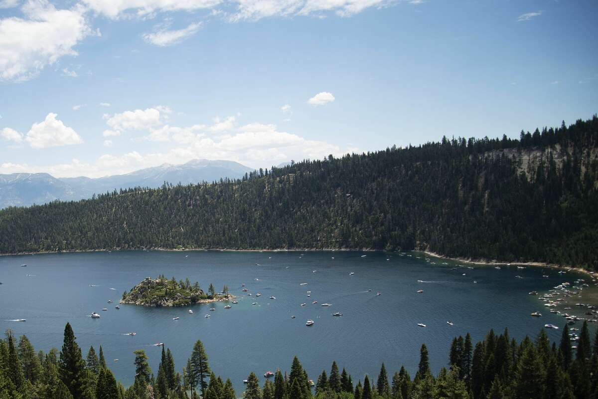 Hundreds of boats stop in Emerald Bay in Lake Tahoe on July 4, 2021.