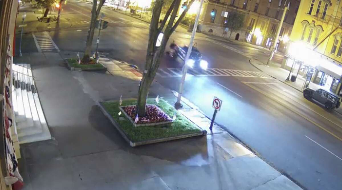This is a still from crash video released by Saratoga Springs police on Monday.