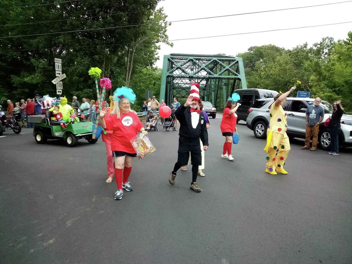 Barkhamsted held its Independence Day parade Monday, July 5. First Selectman Don Stein, center, joined a Dr. Seuss themed group of Town Hall staff and board members.