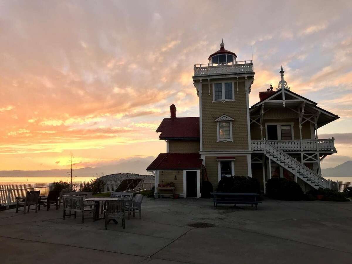The lighthouse station at sunset.