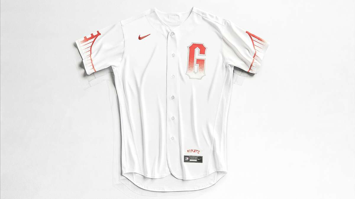 A stock photo of the San Francisco Giants' City Connect jersey.