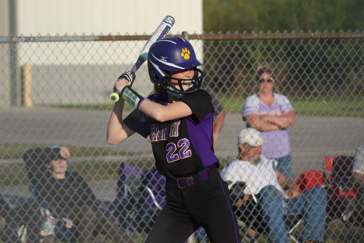 Maggie Kelly stands in the batters box during a home game against Benzie Central this spring.