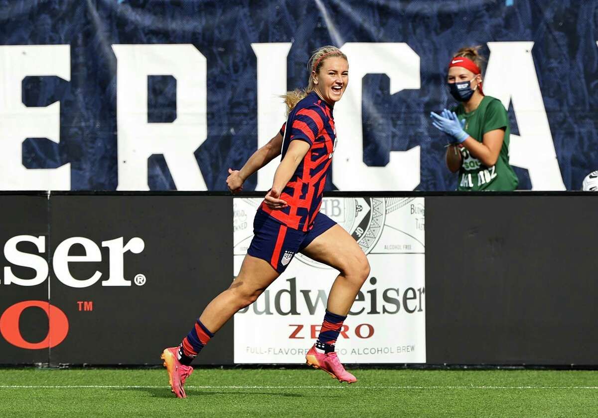 EAST HARTFORD, CONNECTICUT - JULY 05: Lindsey Horan #9 celebrates her goal in the first half against Mexico during the Send Off series at Pratt & Whitney Stadium at Rentschler Field on July 05, 2021 in East Hartford, Connecticut.