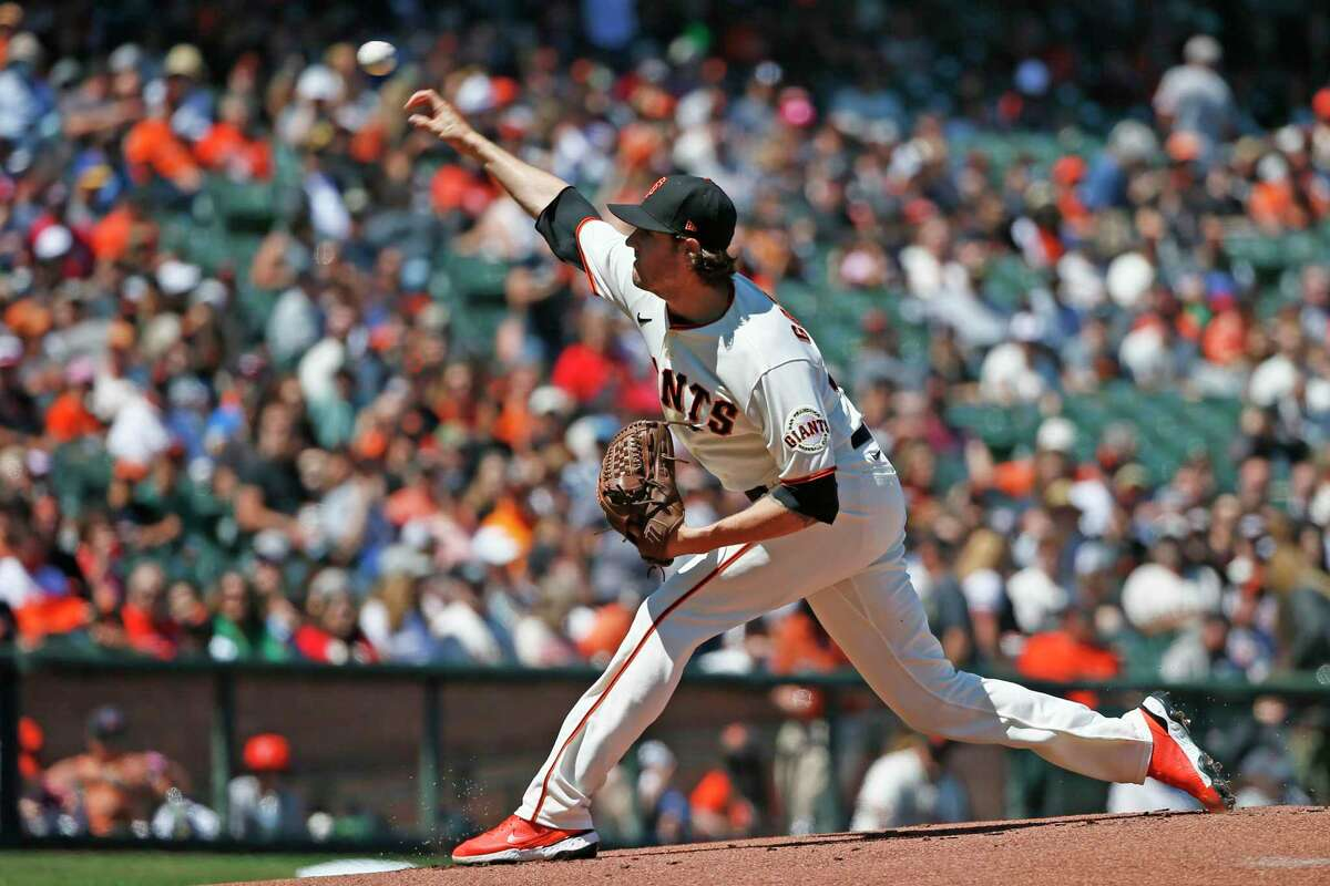 San Francisco Giants starting pitcher Kevin Gausman (34) in the first inning during an MLB game against the St. Louis Cardinals at Oracle Park, Monday, July 5, 2021, in San Francisco, Calif.