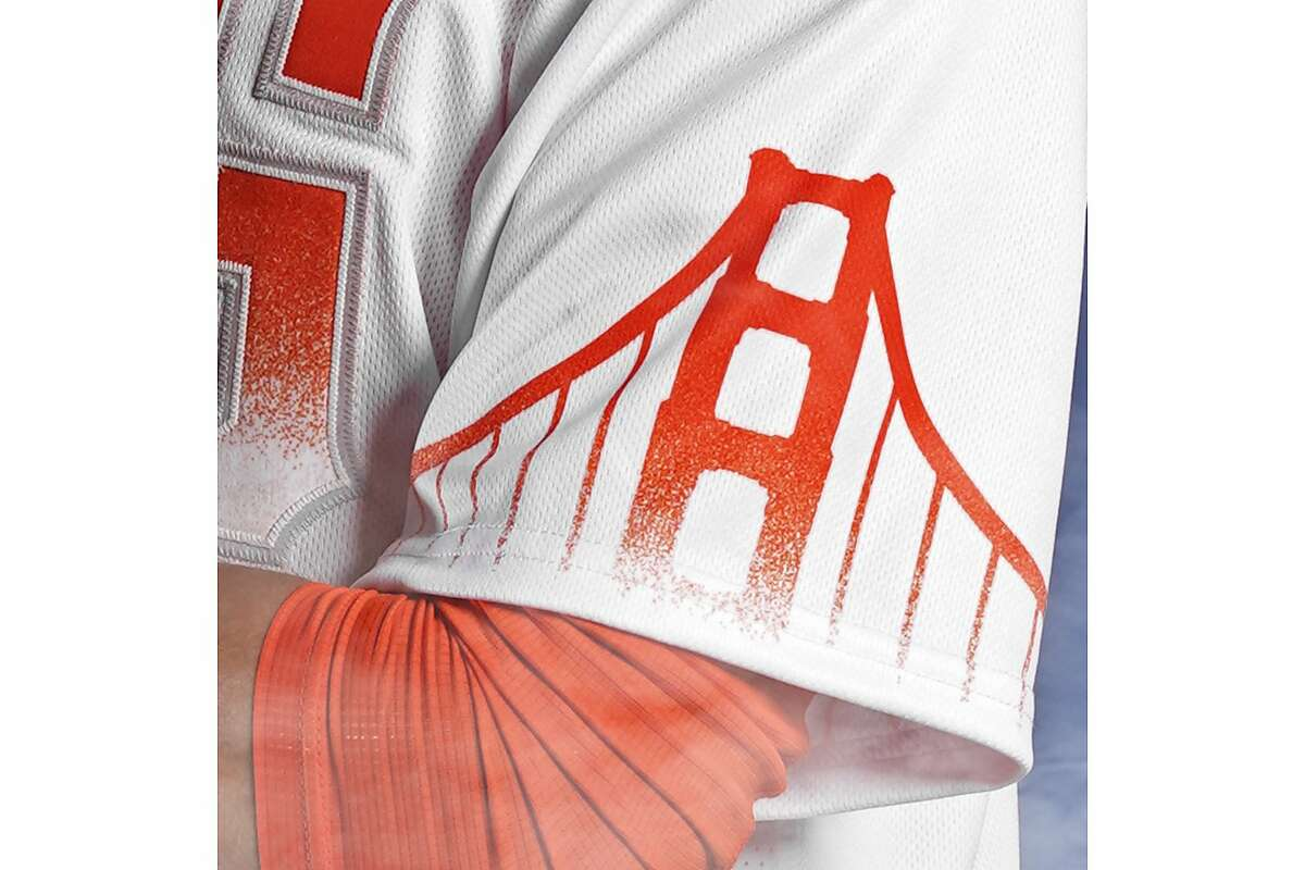 """The Golden Gate Bridge is depicted on the sleeve of the Giants' """"City Connect"""" jersey. The Golden Gate Bridge is depicted on the sleeve of the Giants' """"City Connect"""" jersey."""